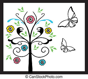 butterflies and tree with flowers - Is a illustration in a ...