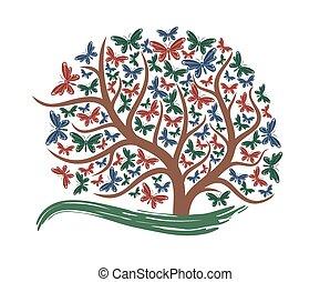 butterflies., arbre