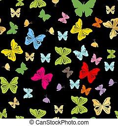 butterflies., astratto, seamless, illustrazione, vettore, fondo
