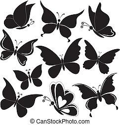 Butterflies, black silhouettes - Various butterflies, black...
