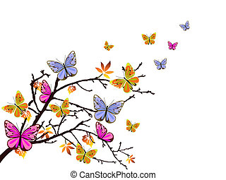 butterflies branch - vector illustration of colorful ...