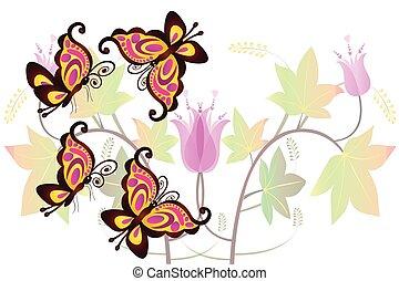 Butterflies card logo vector image