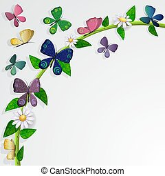 Butterflies card over leaves and flowers background