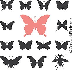 butterflies, cicada set isolated silhouette on white background. Vector illustration