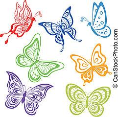Butterflies, coloured contours - Vector, set various...