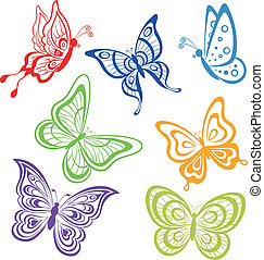 Butterflies, coloured contours - Vector, set various...