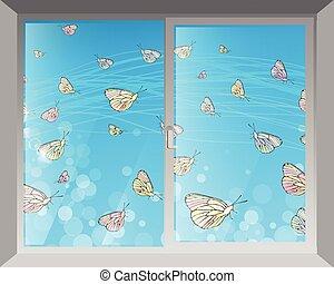 butterflies., fenêtre, ciel, par, vue