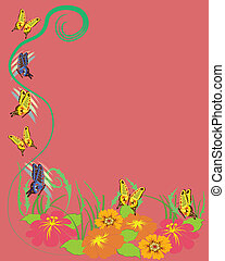 Butterflies, flowers background
