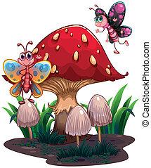 Butterflies flying near a giant mushroom - Illustration of...
