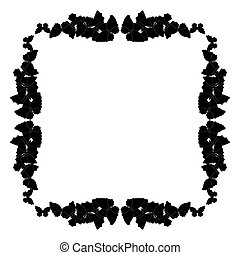 Butterflies frame. Square pattern, border. Wreath of black butterflies isolated on white.