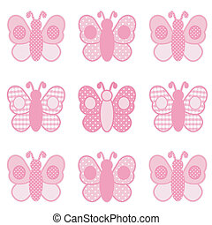 Baby butterflies in pastel pink gingham and polka dots for scrapbooks, albums, baby books. EPS8 compatible.