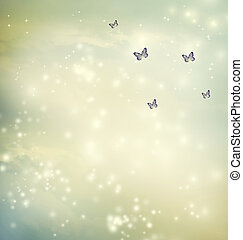Butterflies in a fantasy sky
