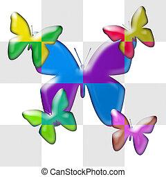 butterflies in dual colors
