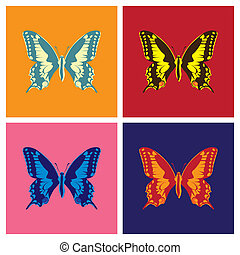 Butterflies in pop art style - illustration