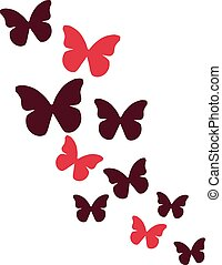 Butterflies in red color