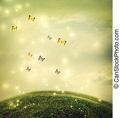 Butterflies in the fantasy hilltop landscape