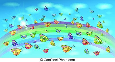 Butterflies in the sky and a rainbow