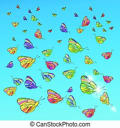 Butterflies in the sky. Concept of freedom