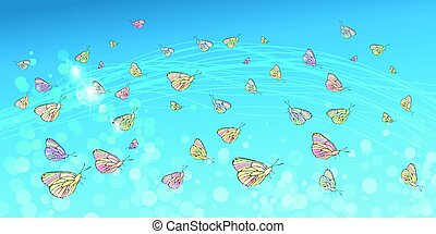 Butterflies in the sky. Concept of