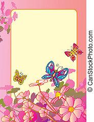butterflies., kwiaty
