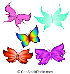 Butterflies - Multicolored butterflies isolated made...