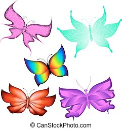 Butterflies - Multicolored butterflies on a white background