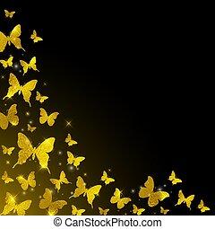 Butterflies on a black background.