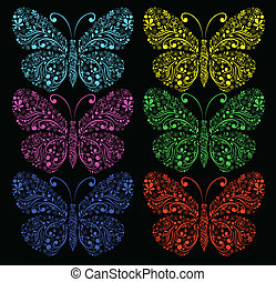 butterflies on a black background
