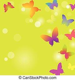 Butterflies on a green background