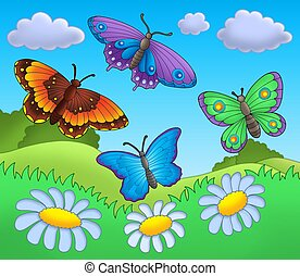 Butterflies on meadow