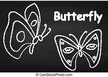 Butterflies. On the chalkboard. Insect. Beautiful. For your design.