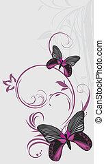 Butterflies. Ornamental background