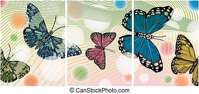 butterflies., plusieurs, pictures., ensemble, peinture