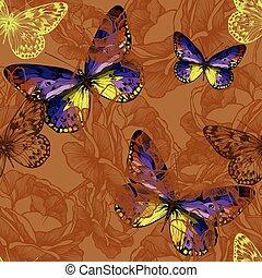 butterflies., przelotny, seamless, ilustracja, wektor, tło