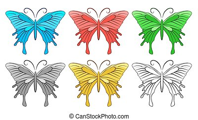butterflies., set, colorato