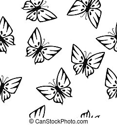 Butterflies Silhouettes Seamless