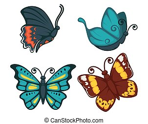 Butterflies vector icon for decoration design element vector icons set