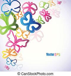 butterflies., vector, illustratie, colorfull