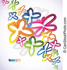 butterflies., vector, kunst, illustratie, kleurrijke