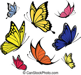 butterflies vector - set of butterflies isolated on white...