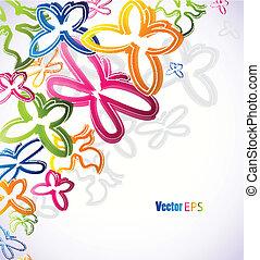 butterflies., vektor, ábra, colorfull