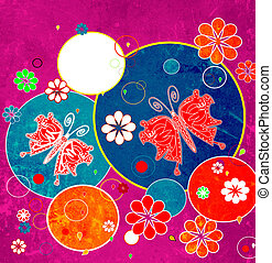 Very colorful composition with butterflies and flowers, retro style design