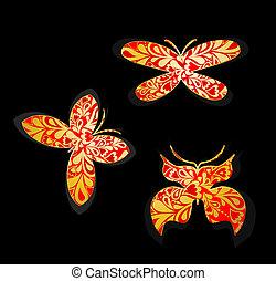butterflies., vettore, set, oro