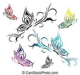 Butterflies with a flower pattern - Set of butterflies with...