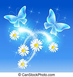 Butterflies with daisy in the sky