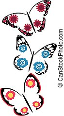 butterflies with flowers set