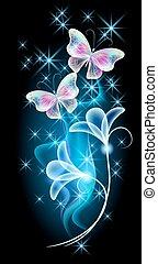 Butterflies with glowing firework