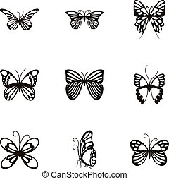 Butterflies with open wings icons set