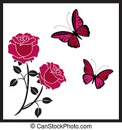 butterflies with roses