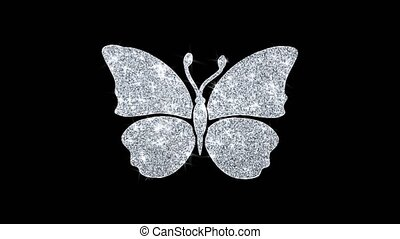 Butterfly And Bee Icon Shining Glitter Loop Blinking Particles .